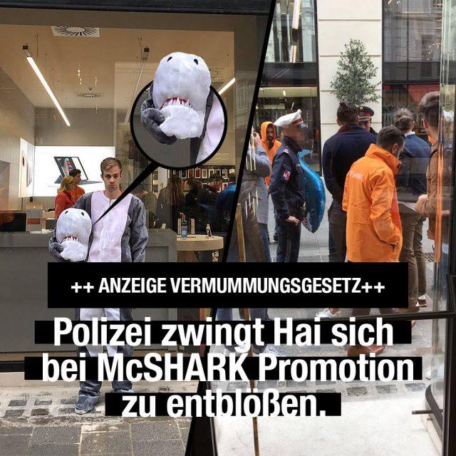 Multata una mascote/fursuit squalo per via di una legge contro i burka